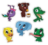 Cute cartoon vector badges with animals. Set with ant, bear, crocodile, duck, elephant, frog Royalty Free Stock Image