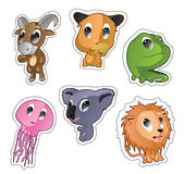 Cute cartoon vector badges with animals. Set with goat, hamster, iguana, jellyfish, lion Royalty Free Stock Photo
