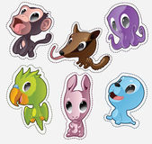 Cute cartoon vector badges with animals. Set with monkey, numbat, octopus, parrot, rabbit, seal Royalty Free Stock Image
