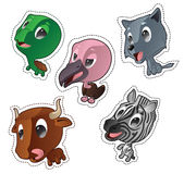 Cute cartoon vector badges with animals. Set with turtle, vulture, wolf, yak, zebra Royalty Free Stock Photos