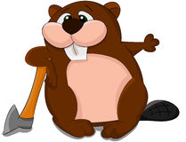 Cute cartoon vector beaver with axe Royalty Free Stock Photography