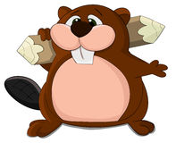 Cute cartoon vector beaver with log Royalty Free Stock Image