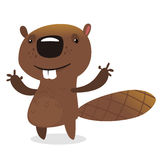 Cute cartoon vector beaver waving with his hands. Royalty Free Stock Photography