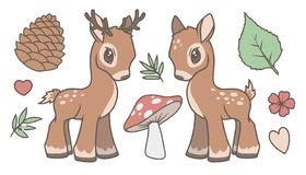 Cute cartoon vector collection set with deer, stag and forest related graphics like leaf, mushroom, fir cone and flower royalty free illustration