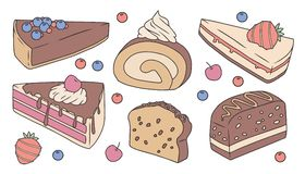 Cute cartoon vector collection set with different delicious cake slices. Cute cartoon vector collection set with different delicious looking cake and pie slices stock illustration