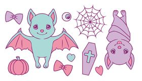 Cute cartoon vector collection set with pastel colored Halloween bats, spiderweb, pumpkin, coffin, hearts, eyeball and ribbon vector illustration