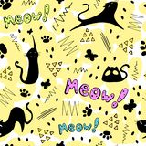 Cute cartoon vector color pattern with black cats, elements and inscriptions. stock illustration