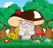 Cute cartoon vector fairytale oldman-mushroom Royalty Free Stock Images
