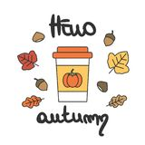 Cute cartoon vector hello autumn hand drawn lettering card with paper cup, leaves, acorns and chestnuts. Cute cartoon hello autumn hand drawn lettering card with stock illustration