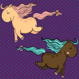 Cute cartoon vector horses. Vector illustration with smiling ponies Stock Photography
