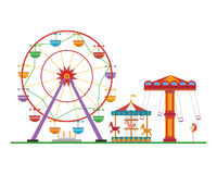 Cute cartoon vector illustration of an amusement park Royalty Free Stock Photography