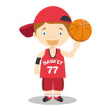 Cute cartoon vector illustration of a basketball player. Kids Series. EPS 10 file added Royalty Free Stock Photography