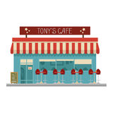 Cute cartoon vector illustration of a cafe Royalty Free Stock Photo
