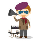 Cute cartoon vector illustration of a filmmaker Royalty Free Stock Photo