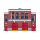 Cute cartoon vector illustration of a fire station Royalty Free Stock Photos