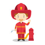Cute cartoon vector illustration of a firefighter Stock Photos