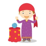 Cute cartoon vector illustration of a fortune teller Stock Photos