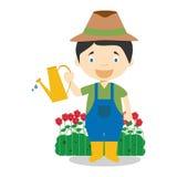 Cute cartoon vector illustration of a gardener Stock Photos