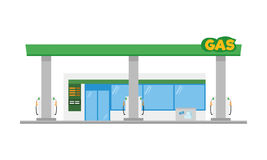 Cute cartoon vector illustration of a gas petrol station Royalty Free Stock Photography