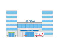 Cute cartoon vector illustration of a hospital with ambulance Royalty Free Stock Image