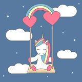 Cute cartoon vector illustration with lovely unicorn sitting on a rainbow swing Stock Photos