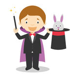 Cute cartoon vector illustration of a magician Stock Photos
