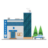 Cute cartoon vector illustration of a police station Stock Images