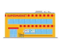 Cute cartoon vector illustration of a supermarket Stock Images