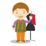 Cute cartoon vector illustration of a tailor Royalty Free Stock Images