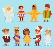 Cute cartoon vector kids carnival holiday costumes. People happy girl carnival costume kids little young dress. Fun. Holiday portrait cheerful carnival costume Royalty Free Stock Images
