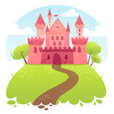 Cute cartoon vector medieval castle Stock Images