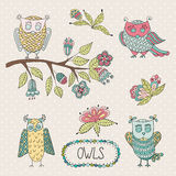 Cute cartoon vector owls, flowers, brunche Royalty Free Stock Images