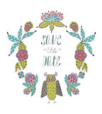 Cute cartoon vector owls  in  frame of leaves and Royalty Free Stock Photography
