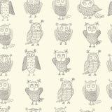 Cute cartoon vector owls. Vector pattern Stock Photo