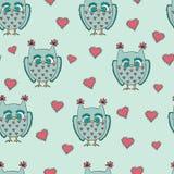 Cute cartoon vector owls. Vector pattern Stock Photos
