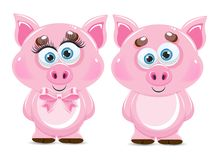 Cute cartoon vector pink pig. Animal of New Year 2019. Farm animal stock illustration