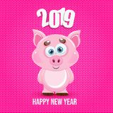 Cute cartoon vector pink pig. Animal of New Year 2019. Farm animal royalty free illustration