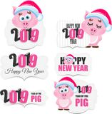 Cute cartoon vector pink pig. Animal of New Year 2019. Farm animal vector illustration