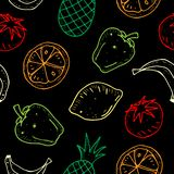 Cute cartoon vector seamless pattern with fruits and vegetables on dark background. vector illustration