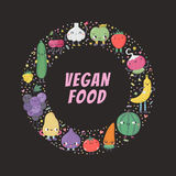 Cute cartoon vegan food circle frame. Part two. Cute cartoon vegan food circle frame. Funny characters in nice colors with confetti. Part two Royalty Free Stock Images