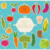 Cute cartoon vegetables with frame. Stock Photos