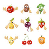 Cute cartoon vegetables and fruit vector collection in comic style Royalty Free Stock Photography