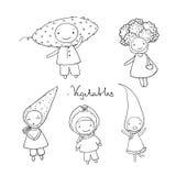 Cute cartoon vegetables. Stock Image