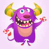 Cute cartoon violet horned and fluffy monster smiling. Halloween vector illustration. Royalty Free Stock Photos