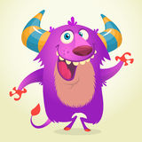 Cute cartoon violet horned and fluffy monster smiling. Halloween vector illustration. Cute cartoon violet horned and fluffy monster smiling. Halloween vector Stock Photo