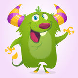 Cute cartoon violet horned and fluffy monster smiling. Vector illustration. Cute cartoon violet horned and fluffy monster smiling. Vector illustration Stock Photos