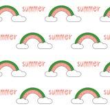 Cute cartoon watermelon rainbow seamless pattern background illustration. Cute cartoon watermelon rainbow seamless vector pattern background illustration Stock Photography
