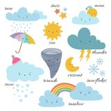 Cute cartoon weather icons. Forecast meteorology vector vocabulary symbols. Sun and cloud, rain and snowflake illustration Royalty Free Stock Image
