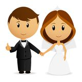 Cute cartoon wedding couple. Vector illustration. Cute cartoon wedding couple holding hand Royalty Free Stock Photography