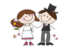 Cute cartoon wedding couple. Cute and colorful doodle (cartoon) illustration of a happy bride and bridegroom Stock Photo